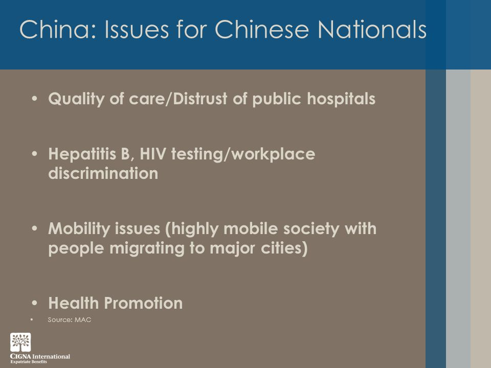 China: Issues for Chinese Nationals Quality of care/Distrust of public hospitals Hepatitis B, HIV testing/workplace discrimination Mobility issues (highly mobile society with people migrating to major cities) Health Promotion Source: MAC