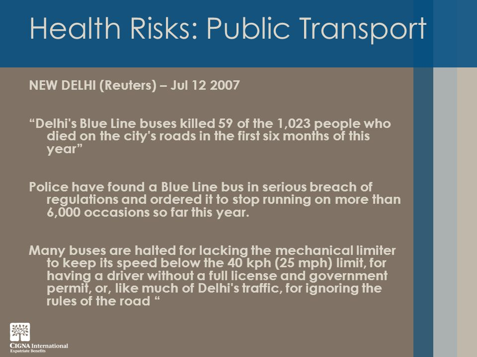 Health Risks: Public Transport NEW DELHI (Reuters) – Jul 12 2007 Delhi s Blue Line buses killed 59 of the 1,023 people who died on the city s roads in the first six months of this year Police have found a Blue Line bus in serious breach of regulations and ordered it to stop running on more than 6,000 occasions so far this year.