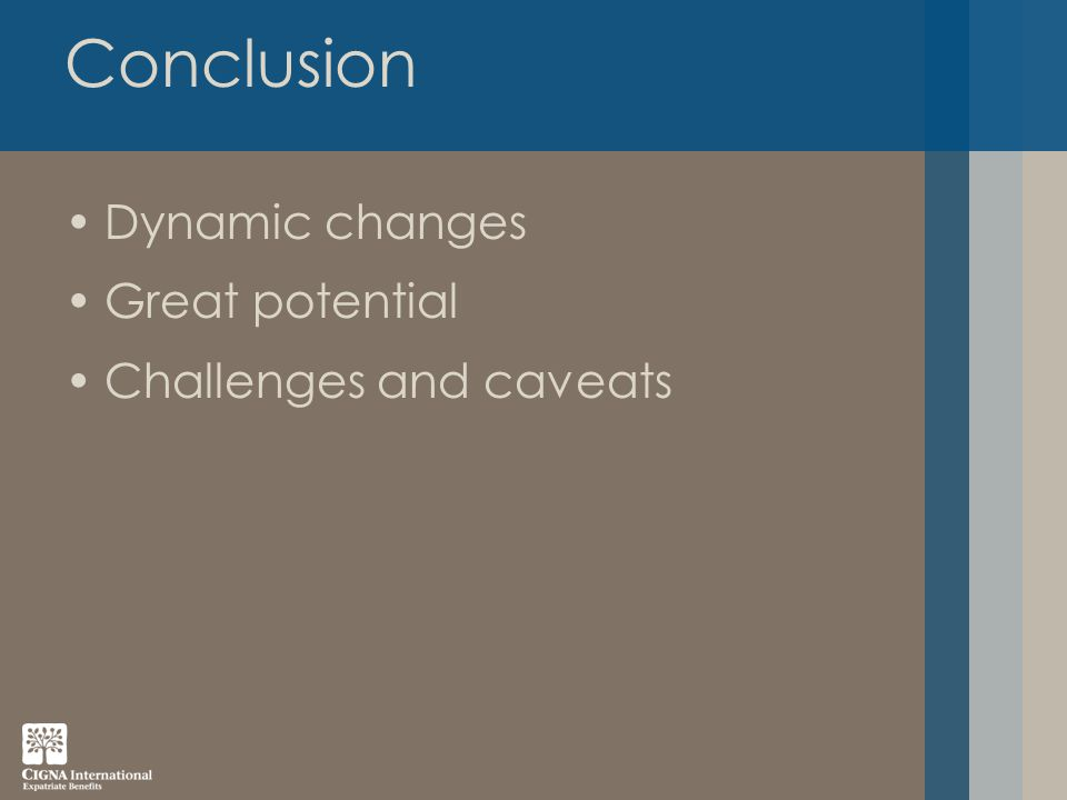 Conclusion Dynamic changes Great potential Challenges and caveats