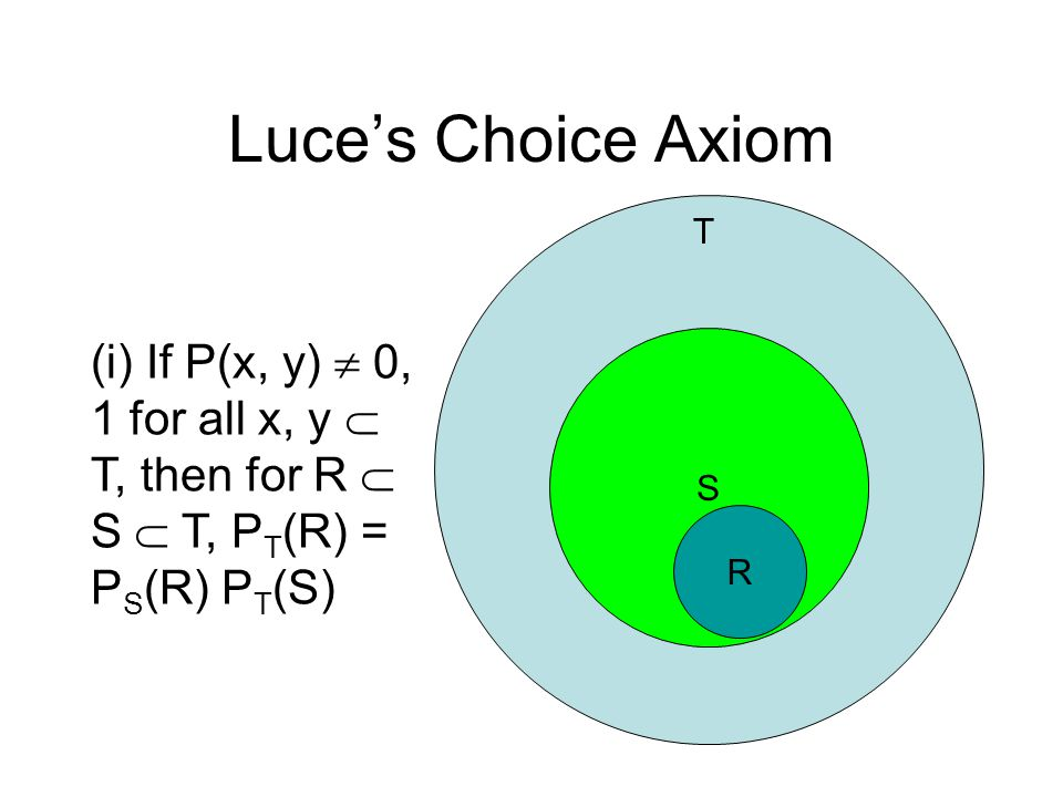 Luce's Choice Axiom S R T (i) If P(x, y)  0, 1 for all x, y  T, then for R  S  T, P T (R) = P S (R) P T (S)