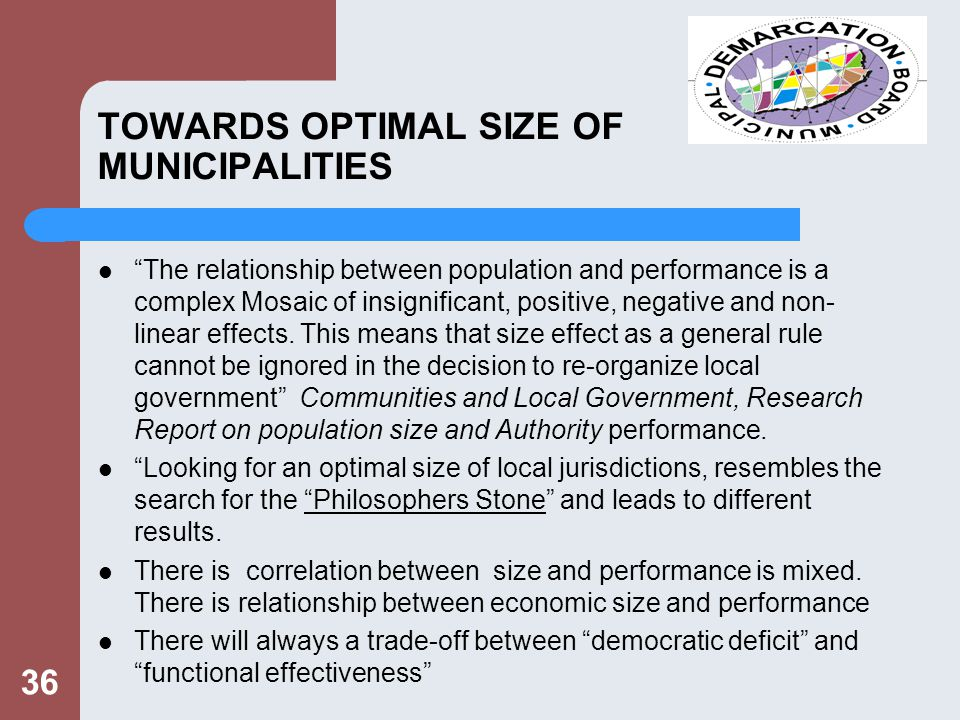 TOWARDS OPTIMAL SIZE OF MUNICIPALITIES The relationship between population and performance is a complex Mosaic of insignificant, positive, negative and non- linear effects.