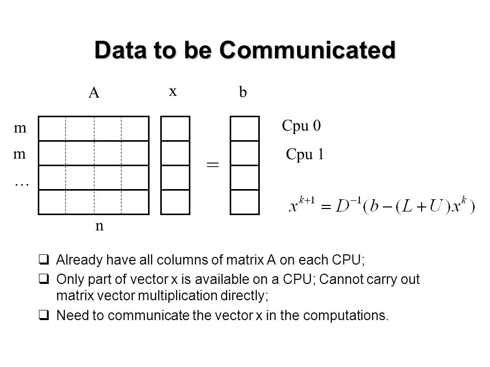 Data to be Communicated  Already have all columns of matrix A on each CPU;  Only part of vector x is available on a CPU; Cannot carry out matrix vector multiplication directly;  Need to communicate the vector x in the computations.
