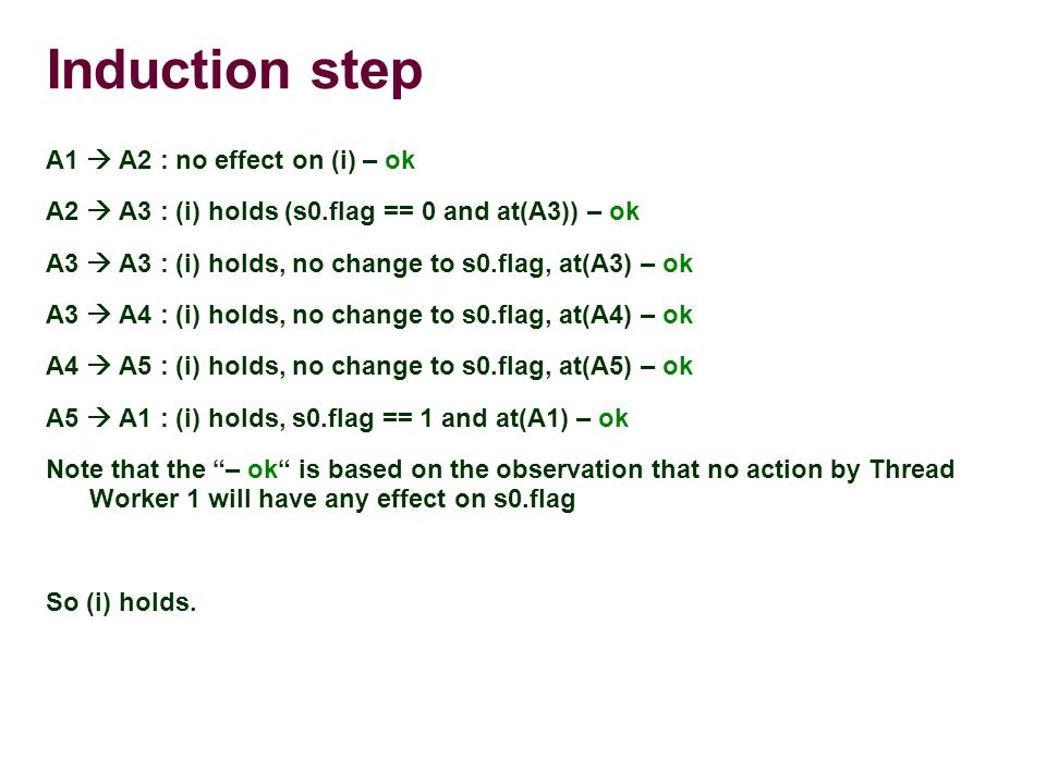 Induction step A1  A2 : no effect on (i) – ok A2  A3 : (i) holds (s0.flag == 0 and at(A3)) – ok A3  A3 : (i) holds, no change to s0.flag, at(A3) – ok A3  A4 : (i) holds, no change to s0.flag, at(A4) – ok A4  A5 : (i) holds, no change to s0.flag, at(A5) – ok A5  A1 : (i) holds, s0.flag == 1 and at(A1) – ok Note that the – ok is based on the observation that no action by Thread Worker 1 will have any effect on s0.flag So (i) holds.
