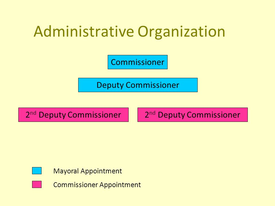 Administrative Organization Commissioner Deputy Commissioner 2 nd Deputy Commissioner Mayoral Appointment Commissioner Appointment 2 nd Deputy Commissioner