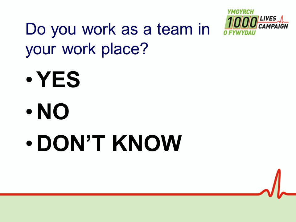 Do you work as a team in your work place YES NO DON'T KNOW