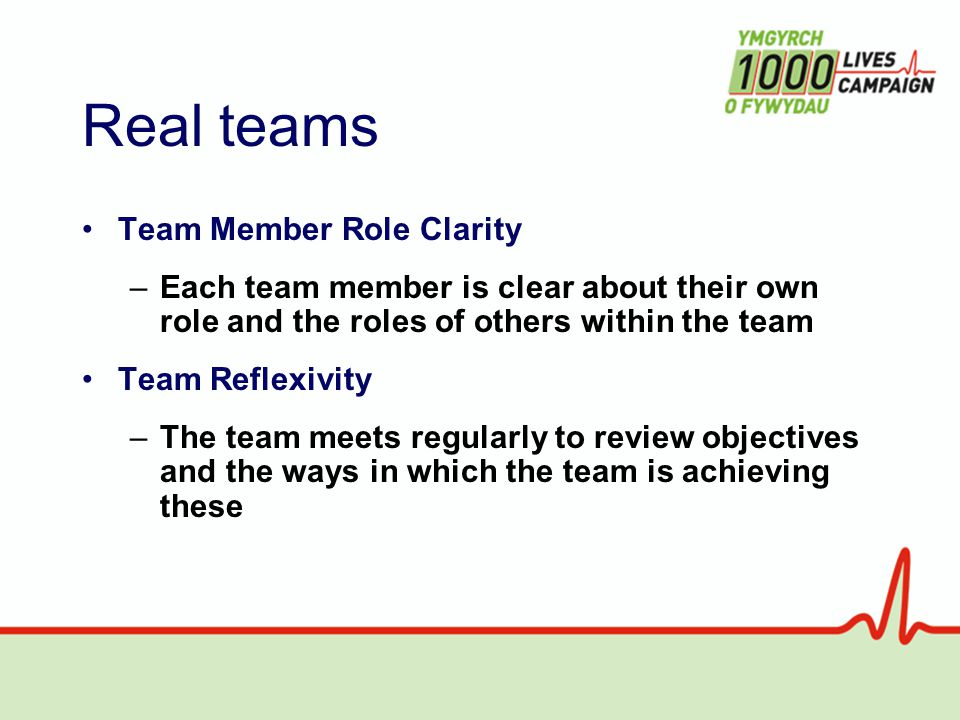 Real teams Team Member Role Clarity –Each team member is clear about their own role and the roles of others within the team Team Reflexivity –The team meets regularly to review objectives and the ways in which the team is achieving these