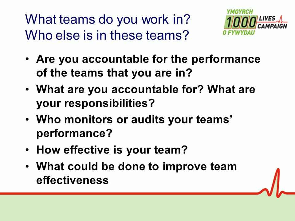 Are you accountable for the performance of the teams that you are in.