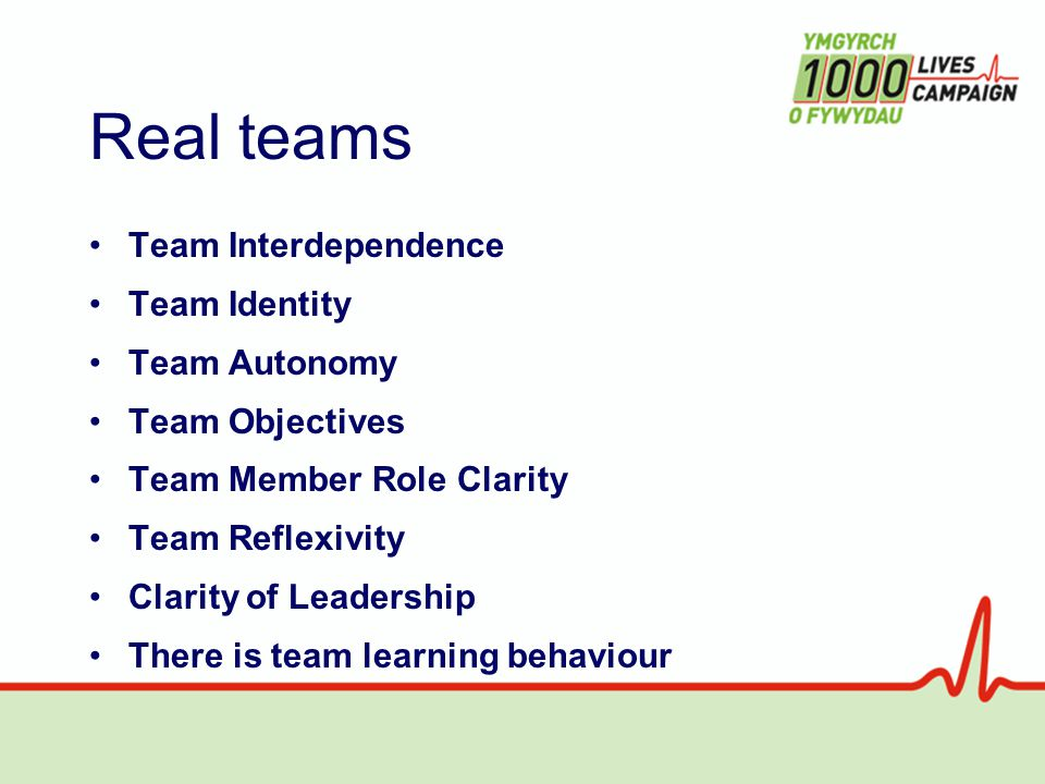 Real teams Team Interdependence Team Identity Team Autonomy Team Objectives Team Member Role Clarity Team Reflexivity Clarity of Leadership There is team learning behaviour