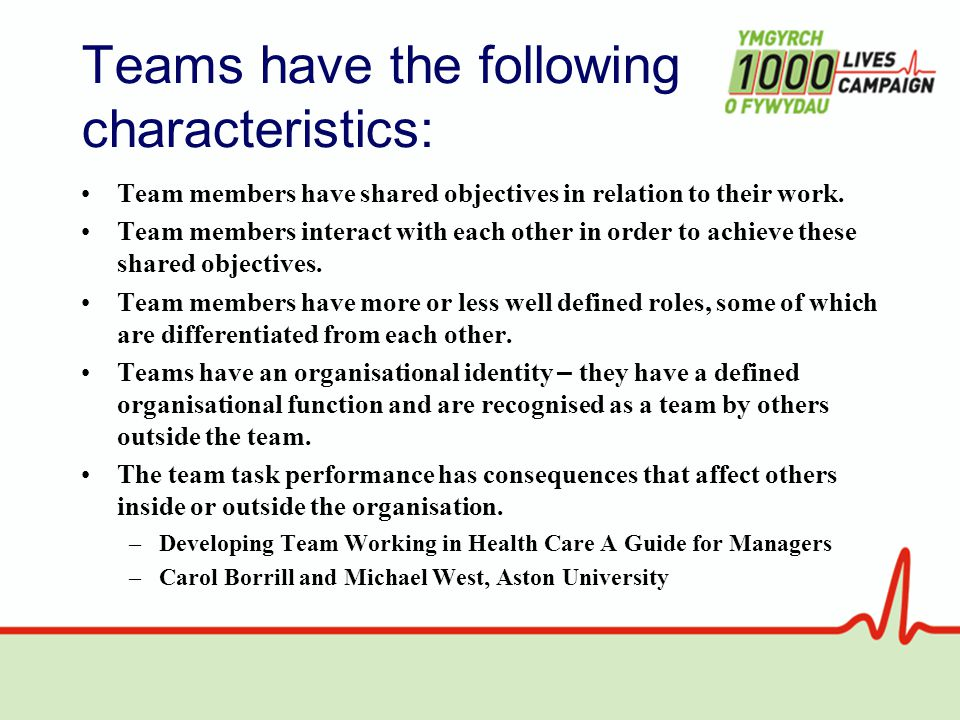 Teams have the following characteristics: Team members have shared objectives in relation to their work.