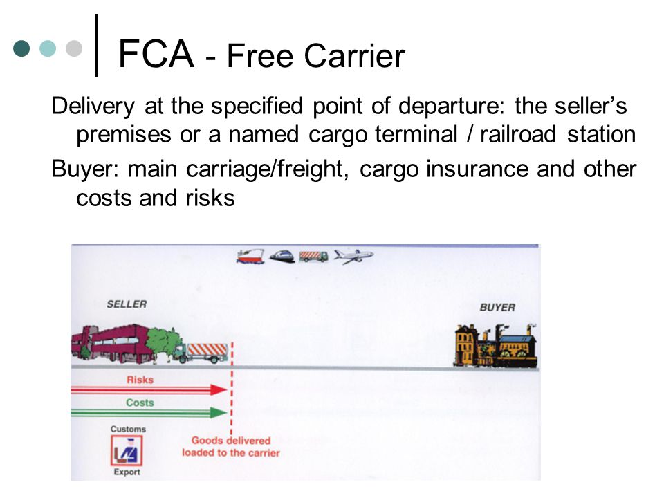 FCA - Free Carrier Delivery at the specified point of departure: the seller's premises or a named cargo terminal / railroad station Buyer: main carriage/freight, cargo insurance and other costs and risks