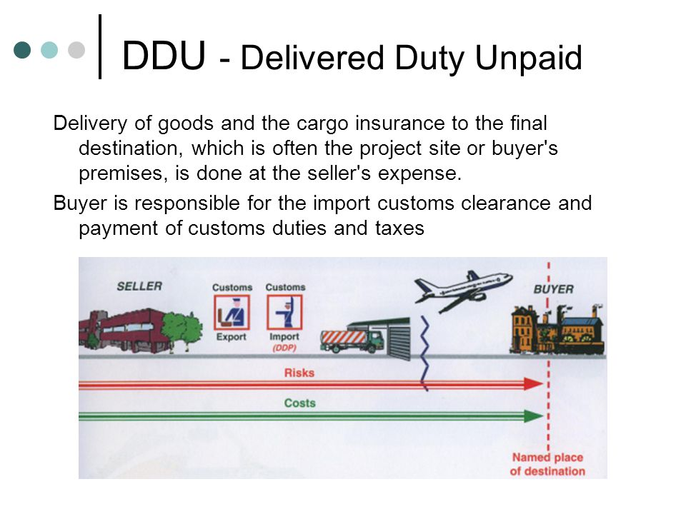 DDU - Delivered Duty Unpaid Delivery of goods and the cargo insurance to the final destination, which is often the project site or buyer s premises, is done at the seller s expense.