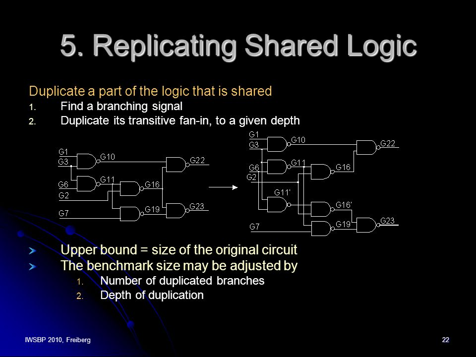 IWSBP 2010, Freiberg22 5. Replicating Shared Logic Duplicate a part of the logic that is shared 1.