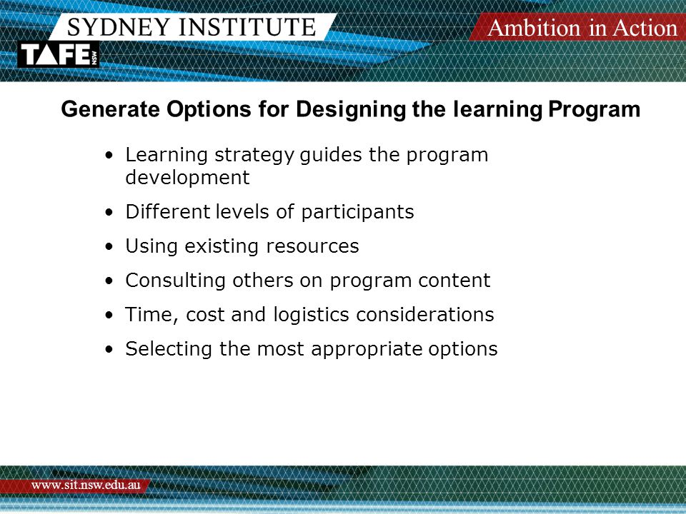 Ambition in Action   Generate Options for Designing the learning Program Learning strategy guides the program development Different levels of participants Using existing resources Consulting others on program content Time, cost and logistics considerations Selecting the most appropriate options
