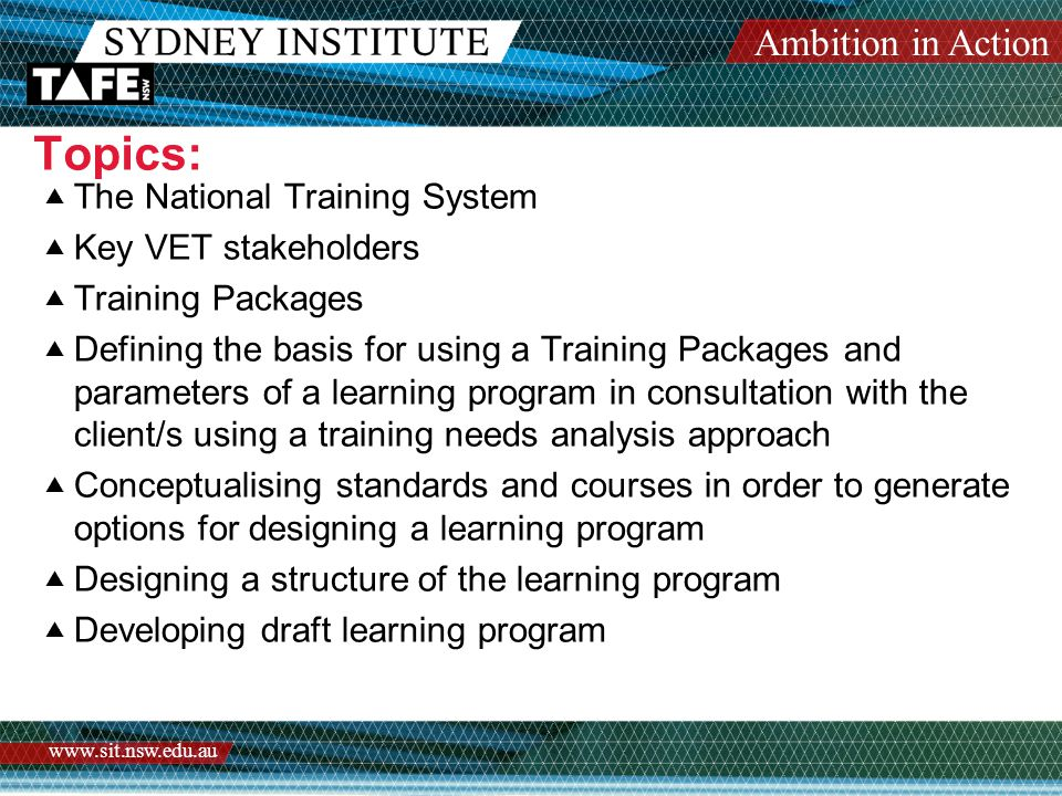 Ambition in Action   Topics:  The National Training System  Key VET stakeholders  Training Packages  Defining the basis for using a Training Packages and parameters of a learning program in consultation with the client/s using a training needs analysis approach  Conceptualising standards and courses in order to generate options for designing a learning program  Designing a structure of the learning program  Developing draft learning program