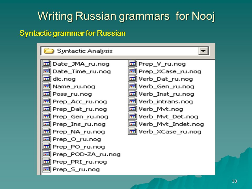 18 Writing Russian grammars for Nooj Syntactic grammar for Russian