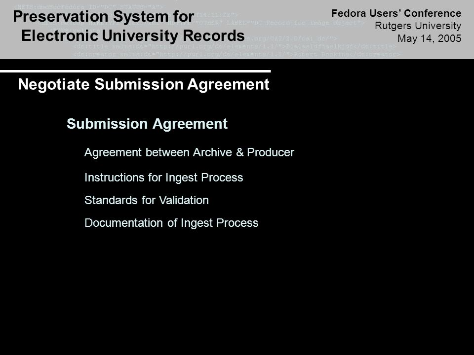 Preservation System for Electronic University Records Fedora Users' Conference Rutgers University May 14, 2005 Negotiate Submission Agreement Submission Agreement Agreement between Archive & Producer Instructions for Ingest Process Standards for Validation Documentation of Ingest Process