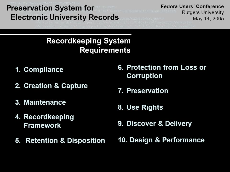 Preservation System for Electronic University Records Fedora Users' Conference Rutgers University May 14, 2005 Recordkeeping System Requirements 1.Compliance 2.Creation & Capture 3.Maintenance 4.Recordkeeping Framework 5.