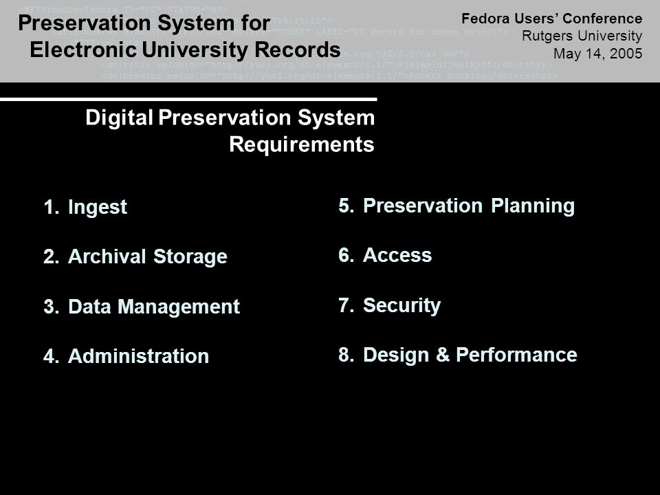 Preservation System for Electronic University Records Fedora Users' Conference Rutgers University May 14, 2005 Digital Preservation System Requirements 1.Ingest 2.Archival Storage 3.Data Management 4.Administration 5.Preservation Planning 6.Access 7.Security 8.Design & Performance