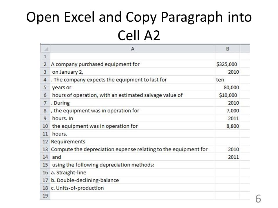 Open Excel and Copy Paragraph into Cell A2 6