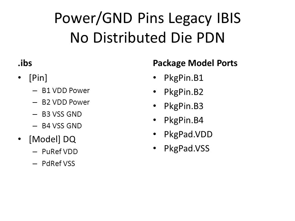 Power/GND Pins Legacy IBIS No Distributed Die PDN.ibs [Pin] – B1 VDD Power – B2 VDD Power – B3 VSS GND – B4 VSS GND [Model] DQ – PuRef VDD – PdRef VSS Package Model Ports PkgPin.B1 PkgPin.B2 PkgPin.B3 PkgPin.B4 PkgPad.VDD PkgPad.VSS
