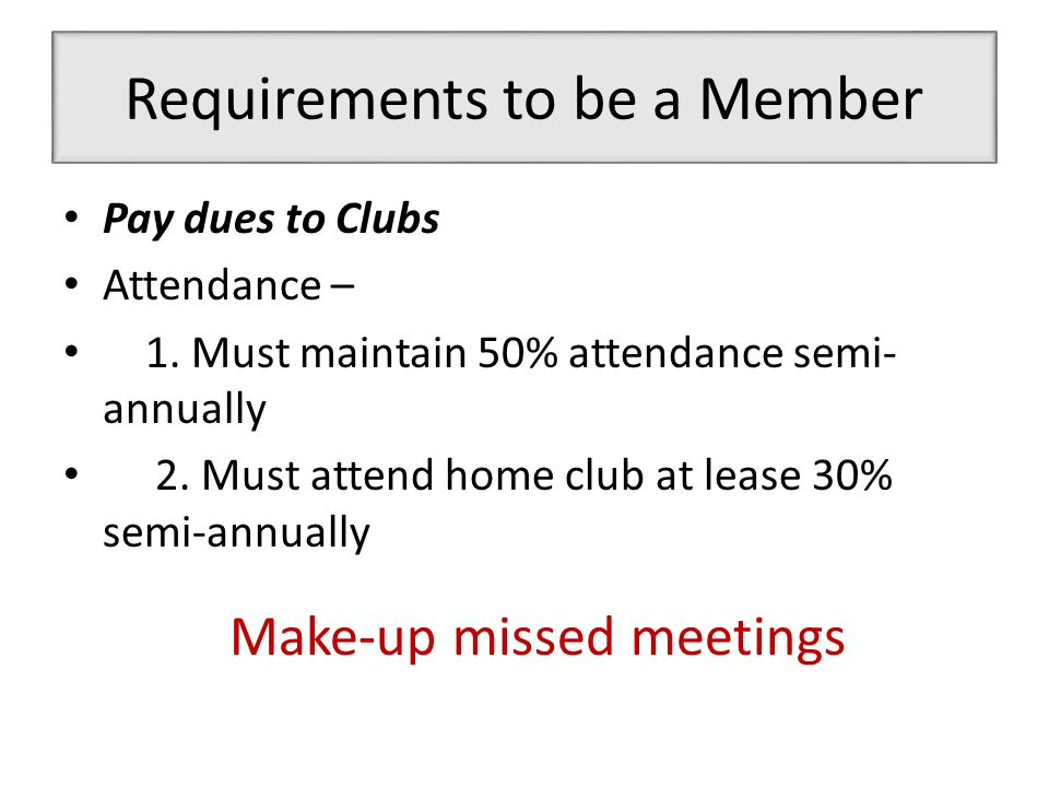 Requirements to be a Member Pay dues to Clubs Attendance – 1.