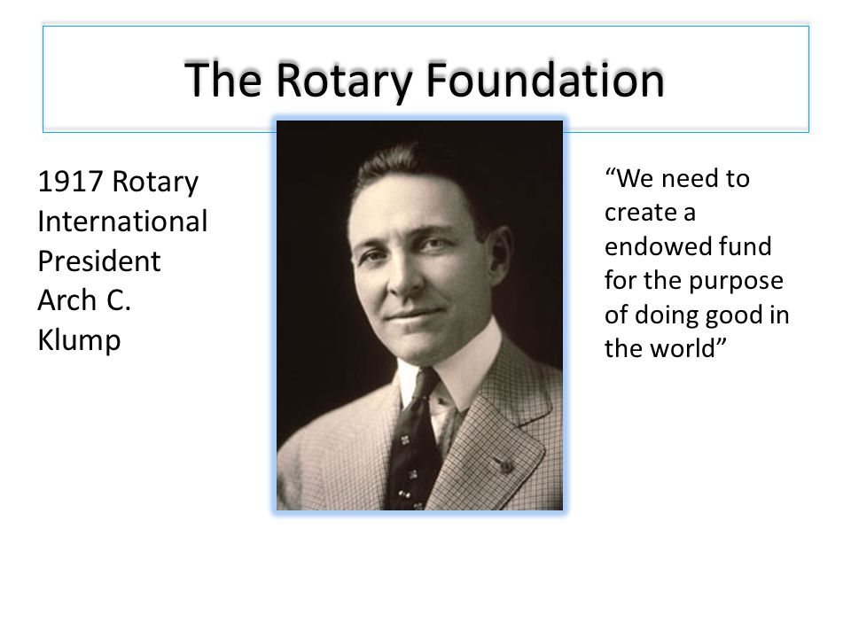 The Rotary Foundation 1917 Rotary International President Arch C.