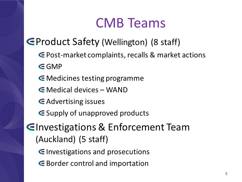 CMB Teams Product Safety (Wellington) (8 staff) Post-market complaints, recalls & market actions GMP Medicines testing programme Medical devices – WAND Advertising issues Supply of unapproved products Investigations & Enforcement Team (Auckland) (5 staff) Investigations and prosecutions Border control and importation 5