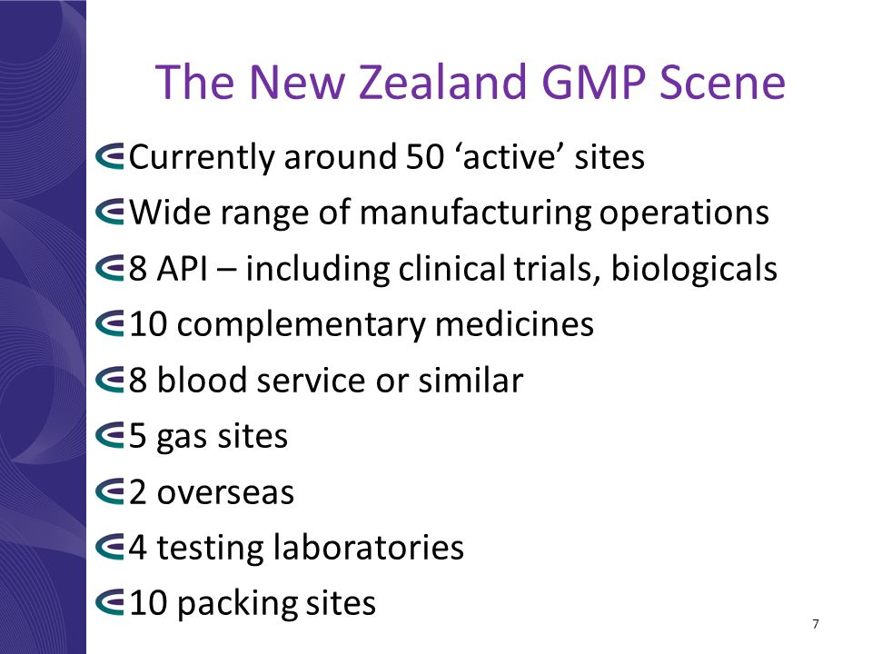 The New Zealand GMP Scene Currently around 50 'active' sites Wide range of manufacturing operations 8 API – including clinical trials, biologicals 10 complementary medicines 8 blood service or similar 5 gas sites 2 overseas 4 testing laboratories 10 packing sites 7