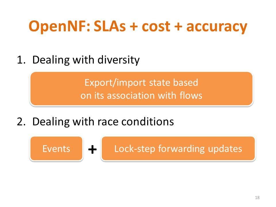 1.Dealing with diversity 2.Dealing with race conditions OpenNF: SLAs + cost + accuracy 18 Export/import state based on its association with flows Events Lock-step forwarding updates +