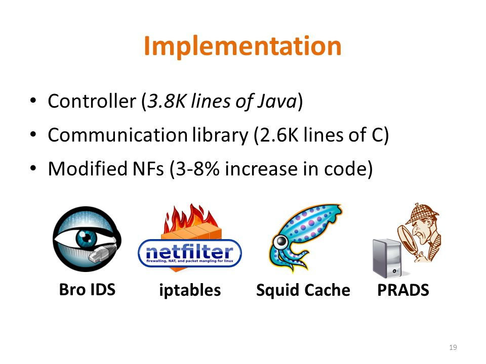 Implementation Controller (3.8K lines of Java) Communication library (2.6K lines of C) Modified NFs (3-8% increase in code) 19 Bro IDS iptables Squid CachePRADS