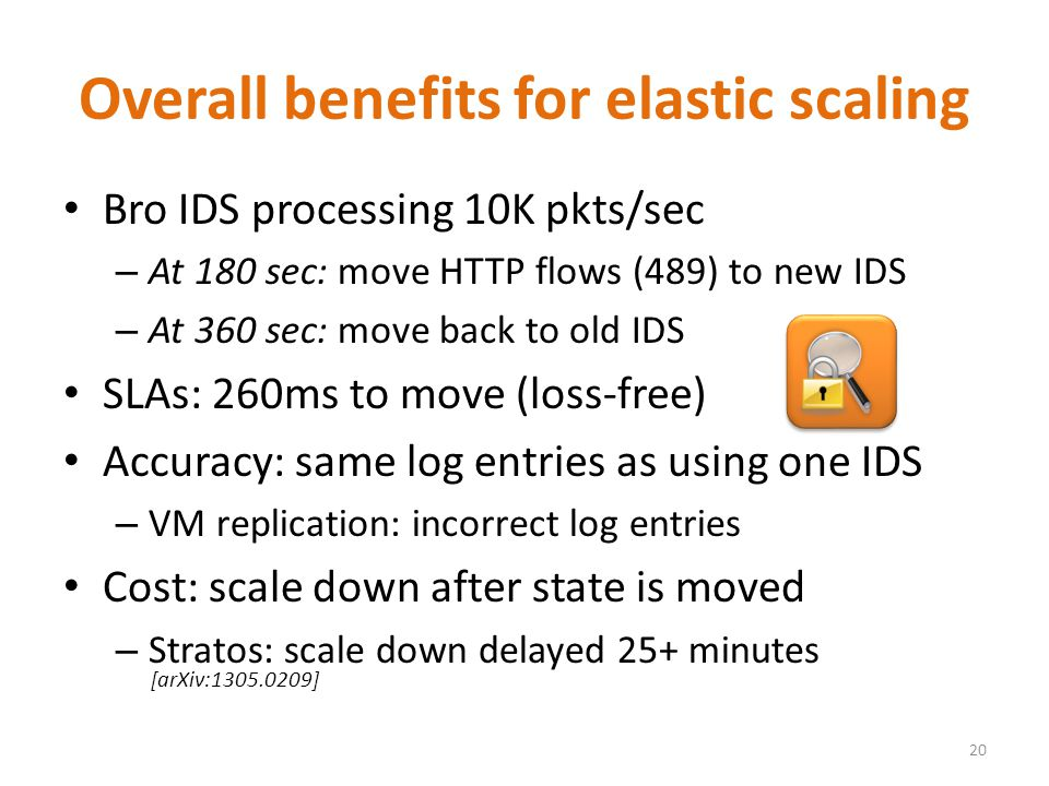 Overall benefits for elastic scaling Bro IDS processing 10K pkts/sec – At 180 sec: move HTTP flows (489) to new IDS – At 360 sec: move back to old IDS SLAs: 260ms to move (loss-free) Accuracy: same log entries as using one IDS – VM replication: incorrect log entries Cost: scale down after state is moved – Stratos: scale down delayed 25+ minutes 20 [arXiv:1305.0209]
