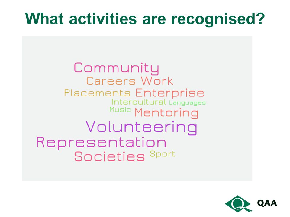 What activities are recognised