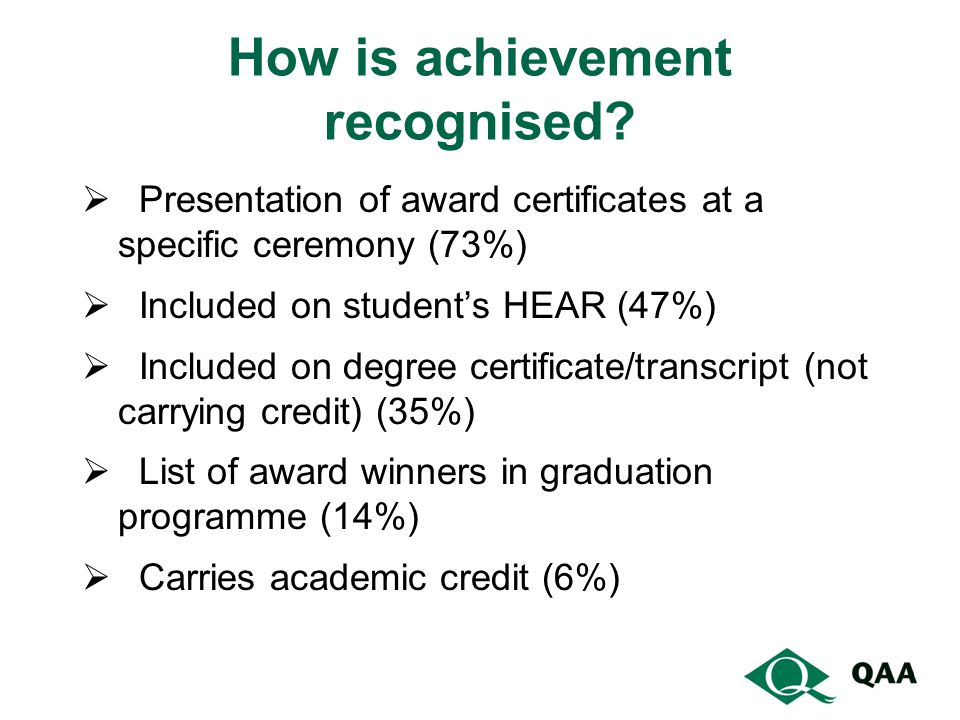 How is achievement recognised.