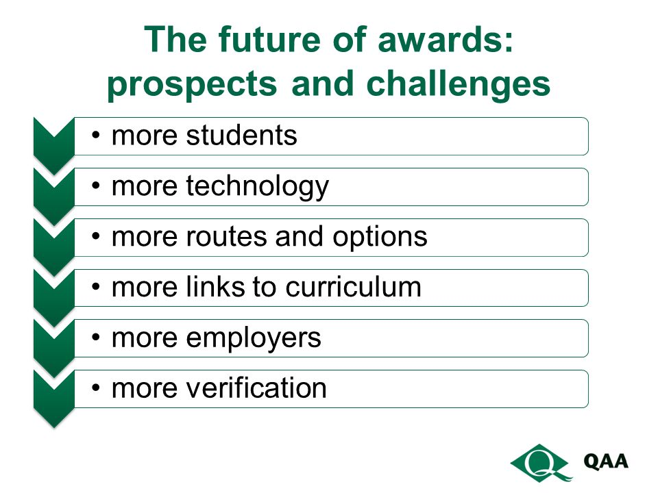 The future of awards: prospects and challenges more students more technology more routes and optionsmore links to curriculummore employersmore verification