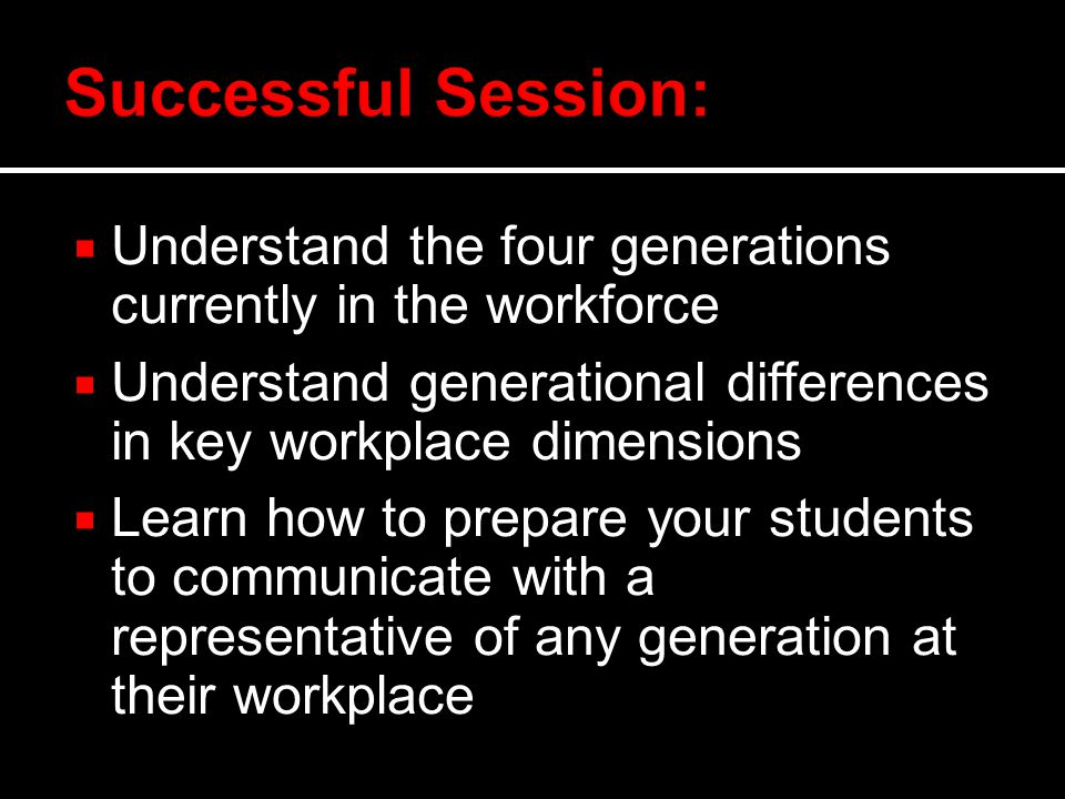  Understand the four generations currently in the workforce  Understand generational differences in key workplace dimensions  Learn how to prepare your students to communicate with a representative of any generation at their workplace