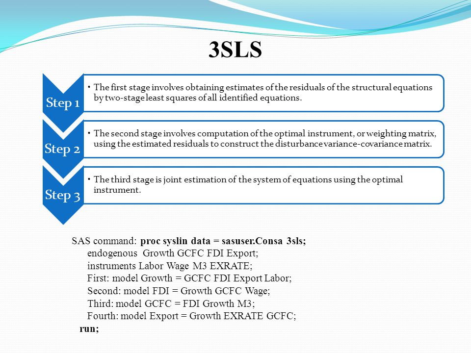 3SLS Step 1 The first stage involves obtaining estimates of the residuals of the structural equations by two-stage least squares of all identified equations.