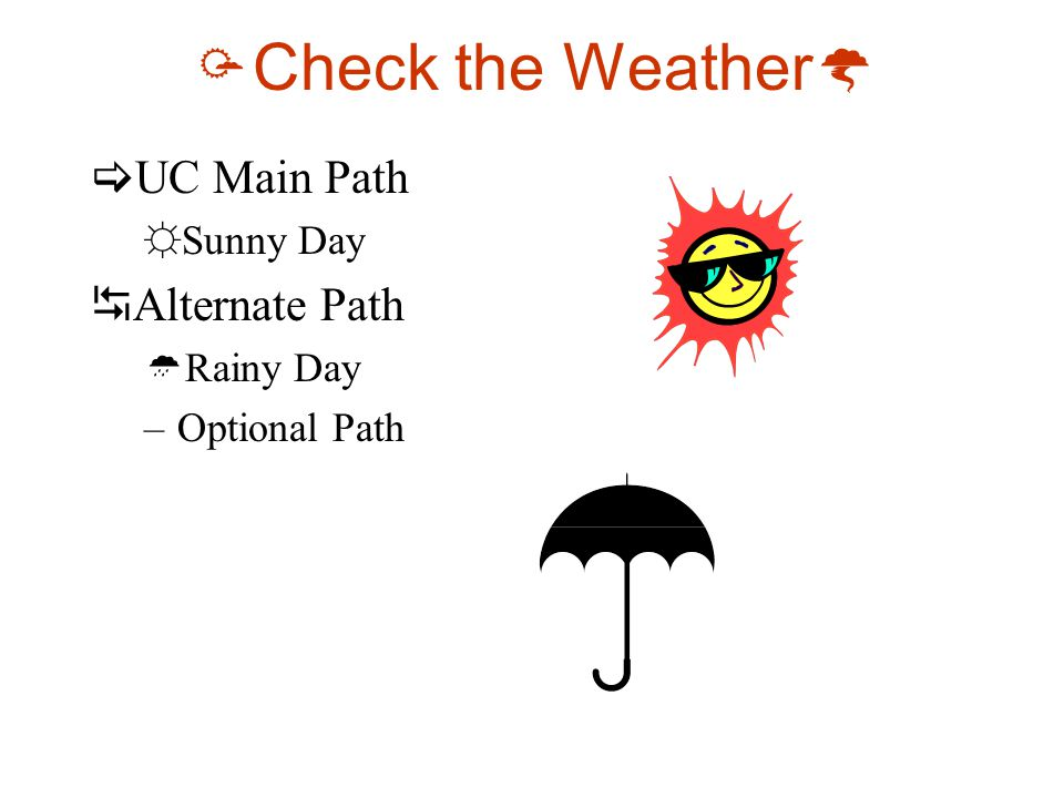  Check the Weather   UC Main Path ☼Sunny Day  Alternate Path  Rainy Day –Optional Path
