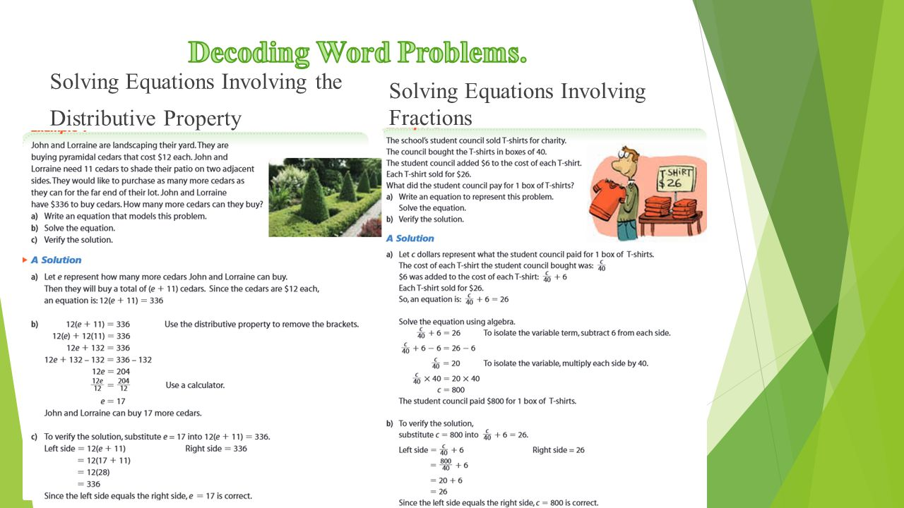 Solving Equations Involving the Distributive Property Solving Equations Involving Fractions
