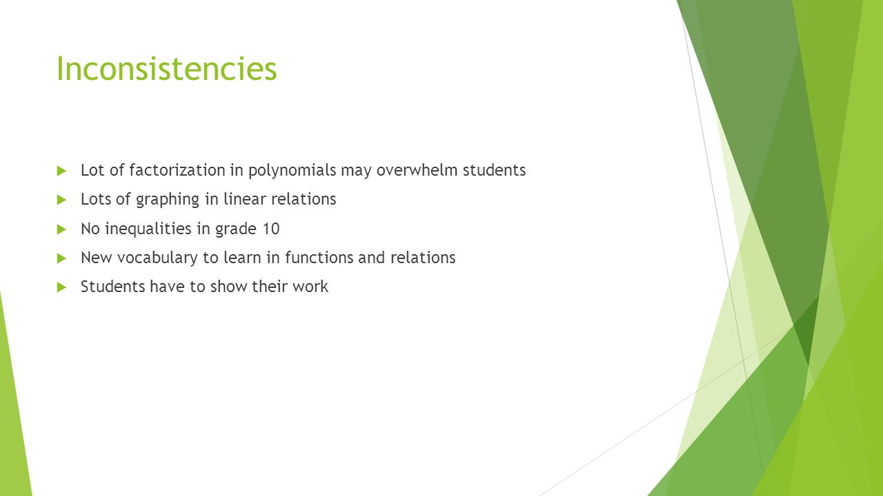 Inconsistencies  Lot of factorization in polynomials may overwhelm students  Lots of graphing in linear relations  No inequalities in grade 10  New vocabulary to learn in functions and relations  Students have to show their work