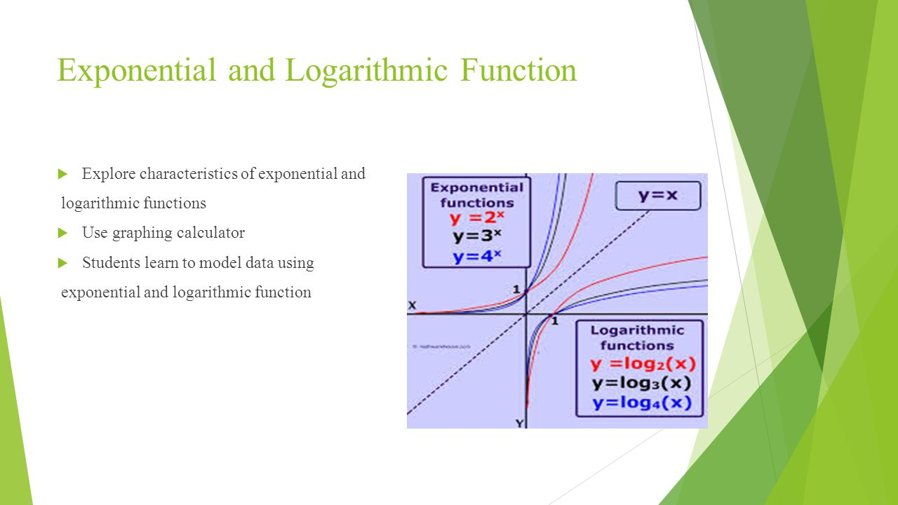 Exponential and Logarithmic Function  Explore characteristics of exponential and logarithmic functions  Use graphing calculator  Students learn to model data using exponential and logarithmic function