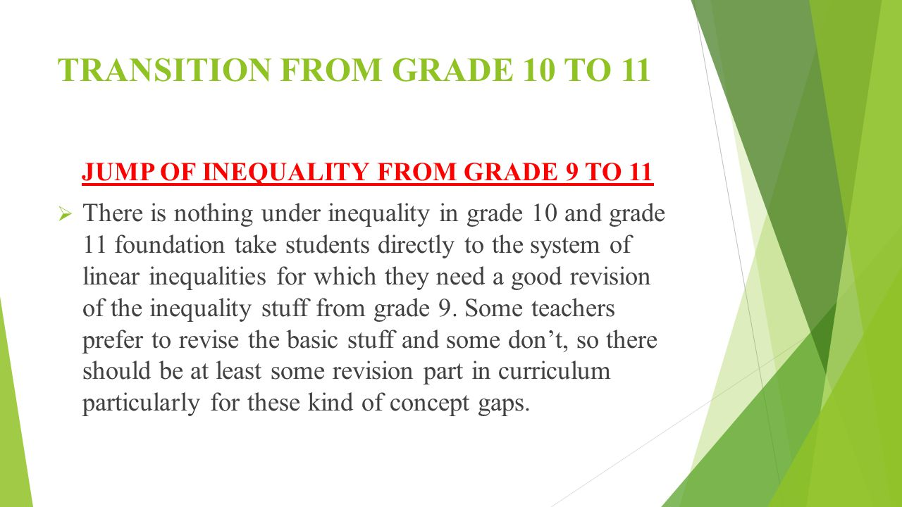 TRANSITION FROM GRADE 10 TO 11 JUMP OF INEQUALITY FROM GRADE 9 TO 11  There is nothing under inequality in grade 10 and grade 11 foundation take students directly to the system of linear inequalities for which they need a good revision of the inequality stuff from grade 9.