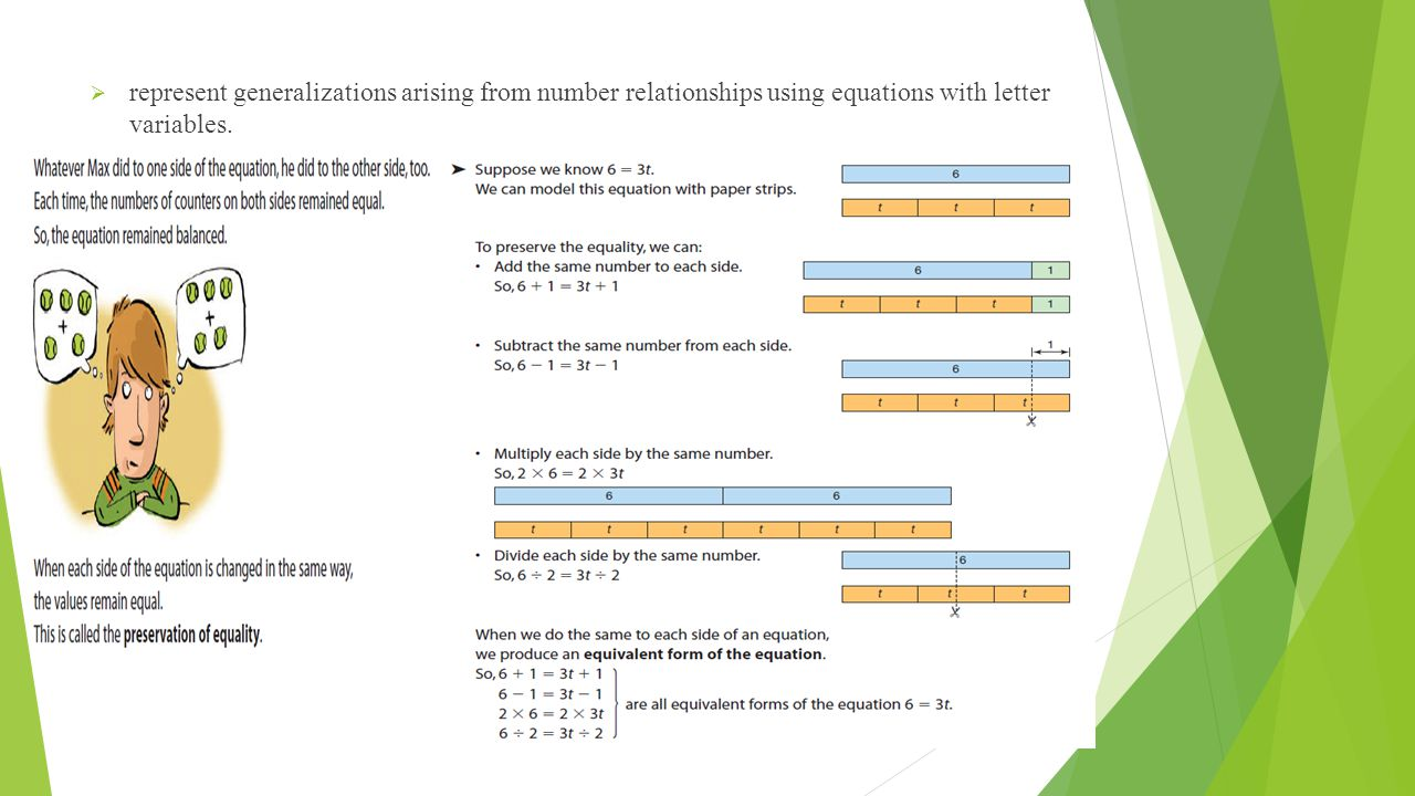  represent generalizations arising from number relationships using equations with letter variables.