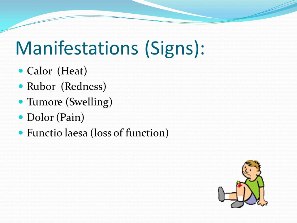 Manifestations (Signs): Calor (Heat) Rubor (Redness) Tumore (Swelling) Dolor (Pain) Functio laesa (loss of function)
