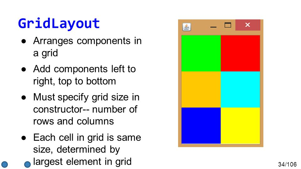 34/106 GridLayout ●Arranges components in a grid ●Add components left to right, top to bottom ●Must specify grid size in constructor-- number of rows and columns ●Each cell in grid is same size, determined by largest element in grid