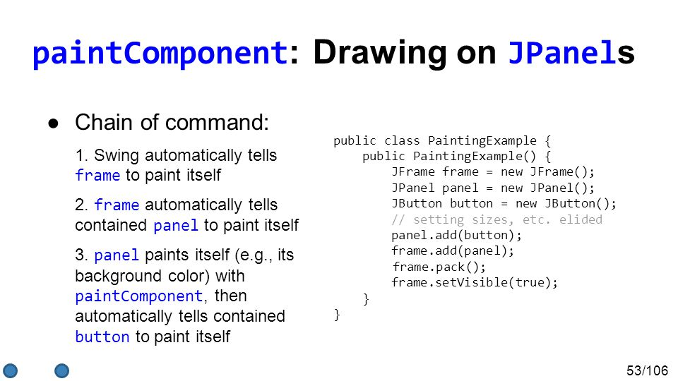 53/106 paintComponent : Drawing on JPanel s ●Chain of command: 1.