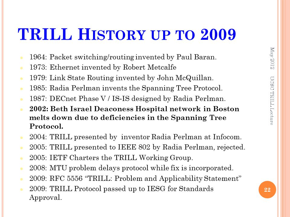 TRILL H ISTORY UP TO : Packet switching/routing invented by Paul Baran.