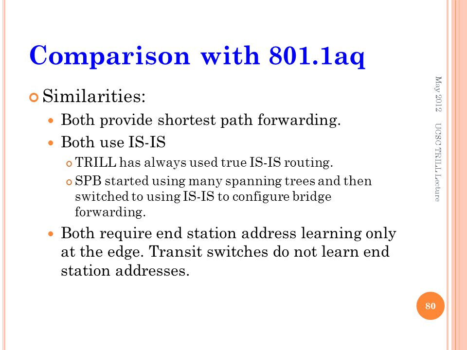 Comparison with 801.1aq Similarities: Both provide shortest path forwarding.