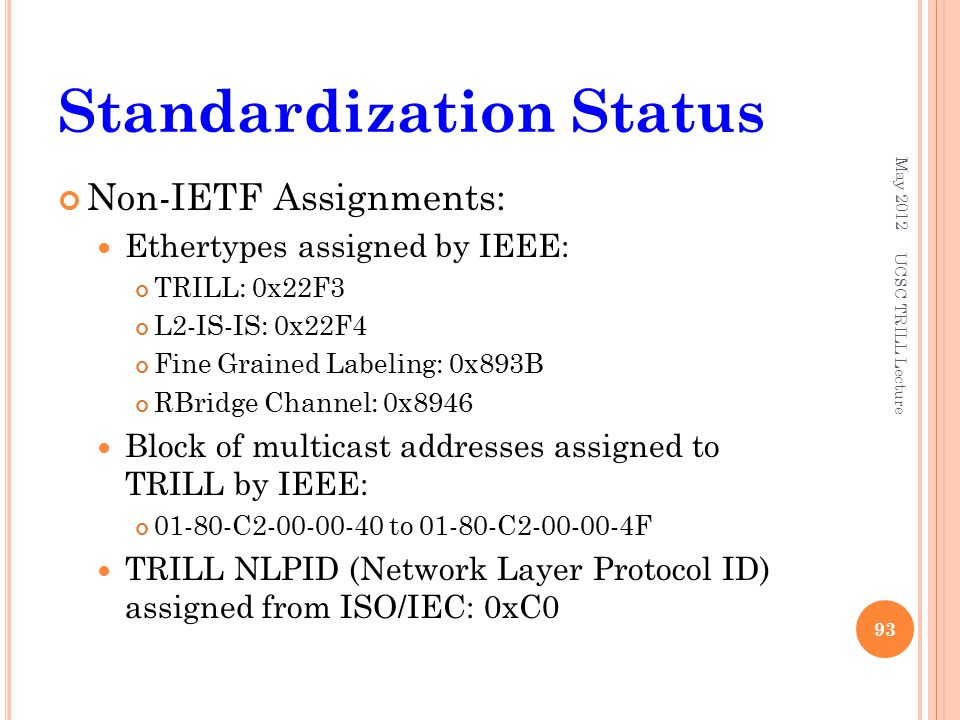 Standardization Status Non-IETF Assignments: Ethertypes assigned by IEEE: TRILL: 0x22F3 L2-IS-IS: 0x22F4 Fine Grained Labeling: 0x893B RBridge Channel: 0x8946 Block of multicast addresses assigned to TRILL by IEEE: C to C F TRILL NLPID (Network Layer Protocol ID) assigned from ISO/IEC: 0xC0 May 2012 UCSC TRILL Lecture 93