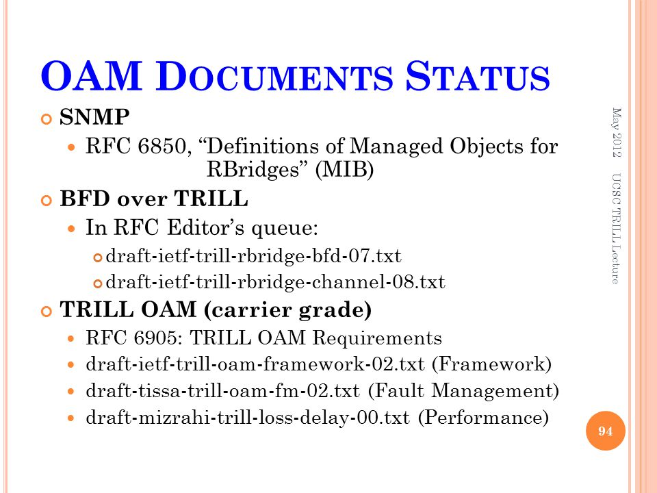 OAM D OCUMENTS S TATUS SNMP RFC 6850, Definitions of Managed Objects for RBridges (MIB) BFD over TRILL In RFC Editor's queue: draft-ietf-trill-rbridge-bfd-07.txt draft-ietf-trill-rbridge-channel-08.txt TRILL OAM (carrier grade) RFC 6905: TRILL OAM Requirements draft-ietf-trill-oam-framework-02.txt (Framework) draft-tissa-trill-oam-fm-02.txt (Fault Management) draft-mizrahi-trill-loss-delay-00.txt (Performance) May 2012 UCSC TRILL Lecture 94