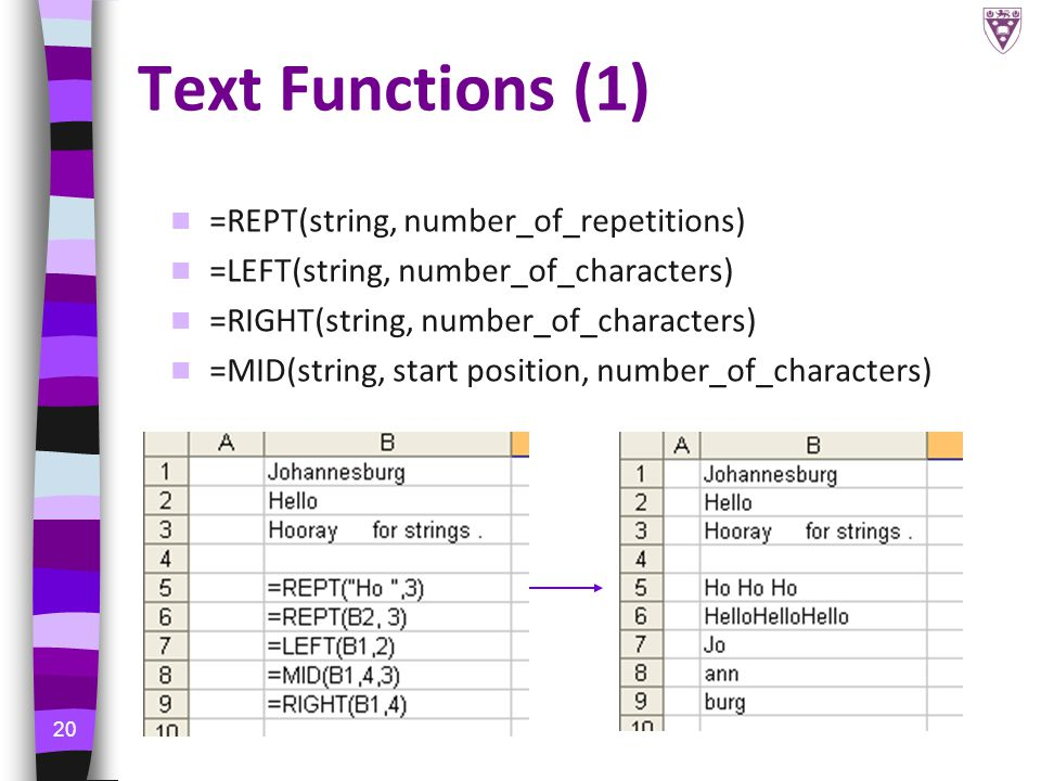 20 Text Functions (1) =REPT(string, number_of_repetitions) =LEFT(string, number_of_characters) =RIGHT(string, number_of_characters) =MID(string, start position, number_of_characters)